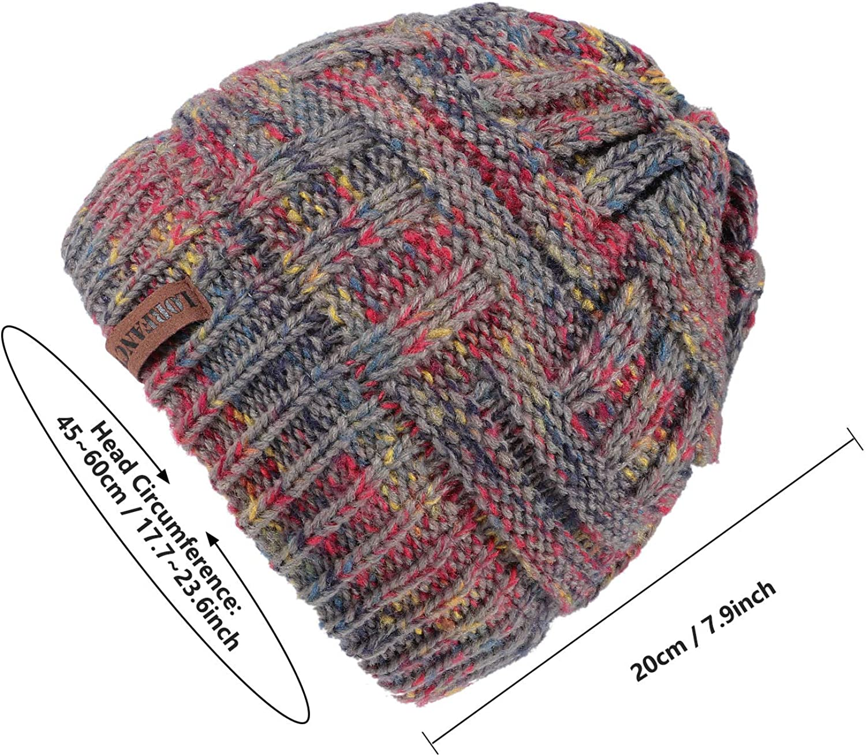 vamei Bonnet Femme Chapeau dhiver pour Femmes Queue De Cheval Chapeau Bonnet Chapeau pour la Plein Air Hiver Automne Coupe-Vent Doux Chaud Skullies C/âble Tricot Chapeau