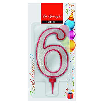 CERERIA Di Giorgio 58170 66 Giant Birthday Candle With Glitter Number 6
