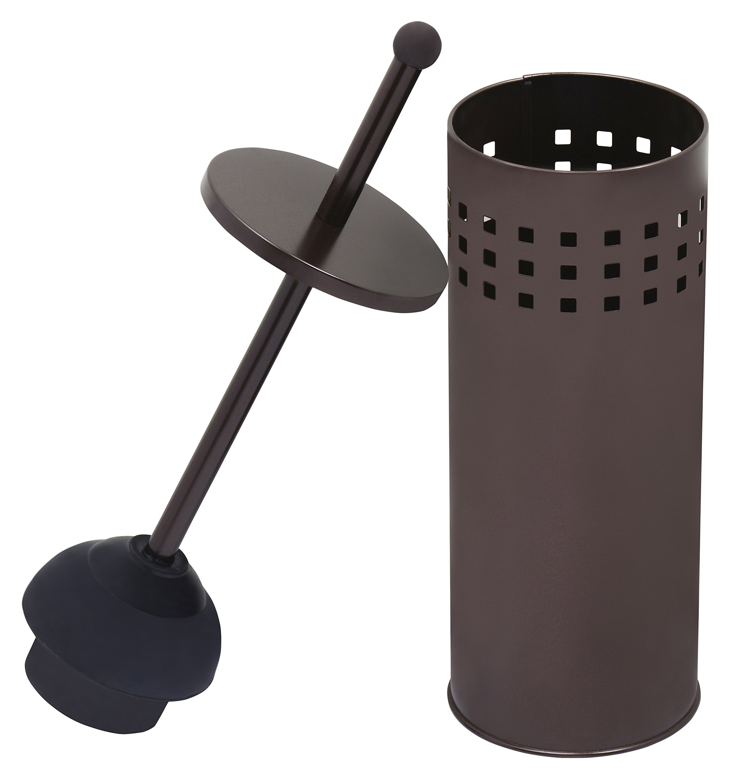 Toilet Plunger with Holder for Bathroom, Multi Drain Suitable also for Bathtubs, Quick Dry, Bronze by Blue Donuts