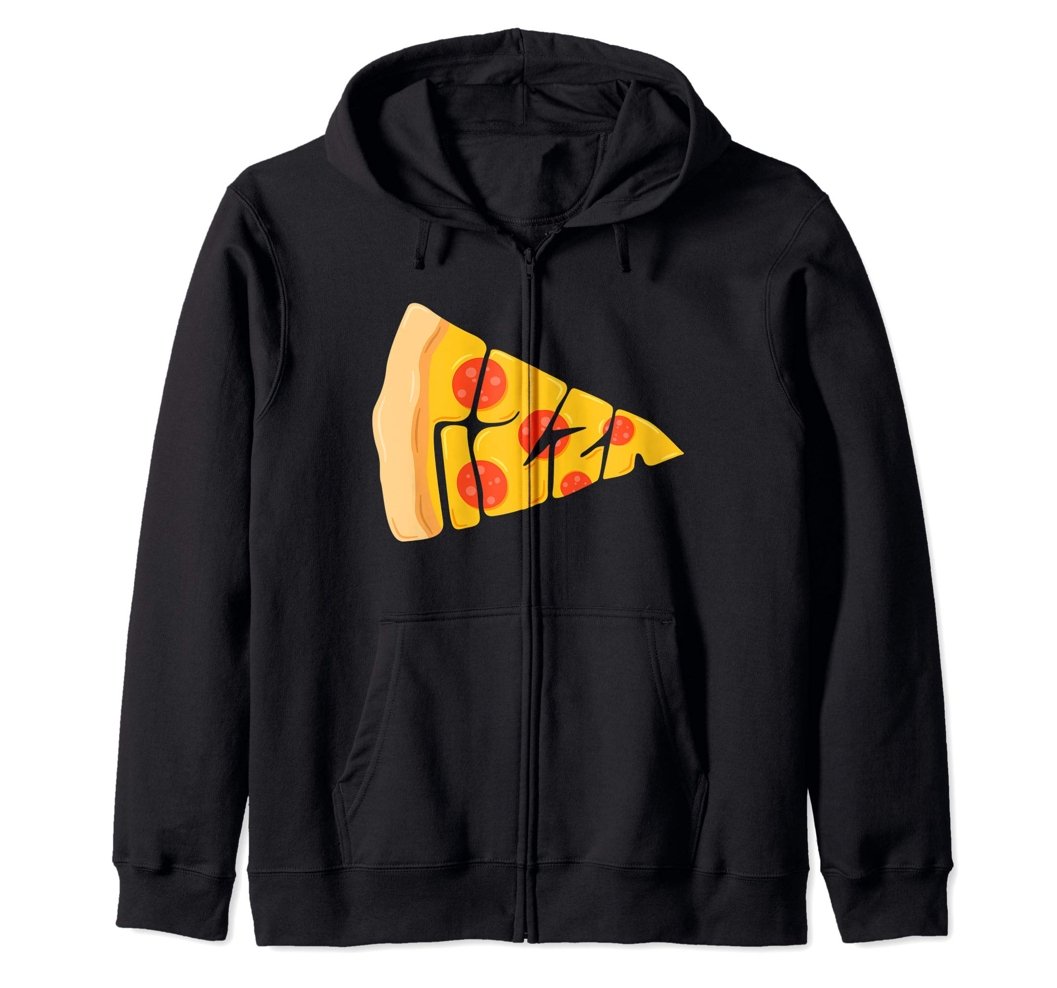 Pepperoni Pizza Logo Slice Cartoon Pizza Triangle  Zip Hoodie by Pizza Lover Gift Cheesy Slice Apparel Co.