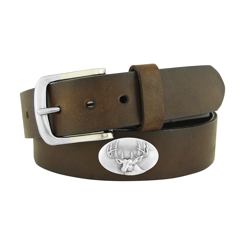 Zep-Pro Kids No Tip Leather Concho Belt-Buck-Brown