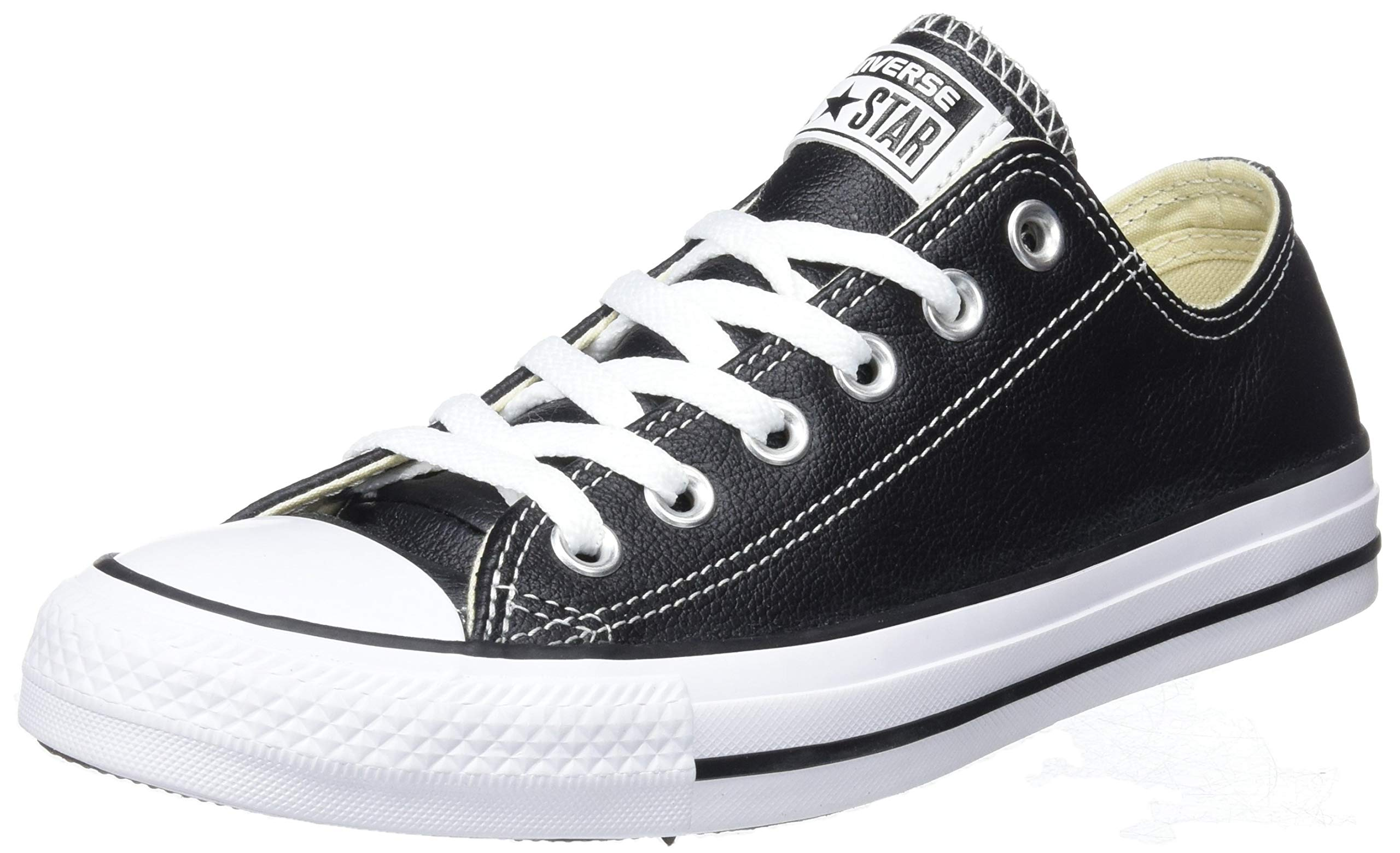 Converse Unisex Chuck Taylor All Star Low Top Leather Black Sneaker - 4 Men - 6 Women