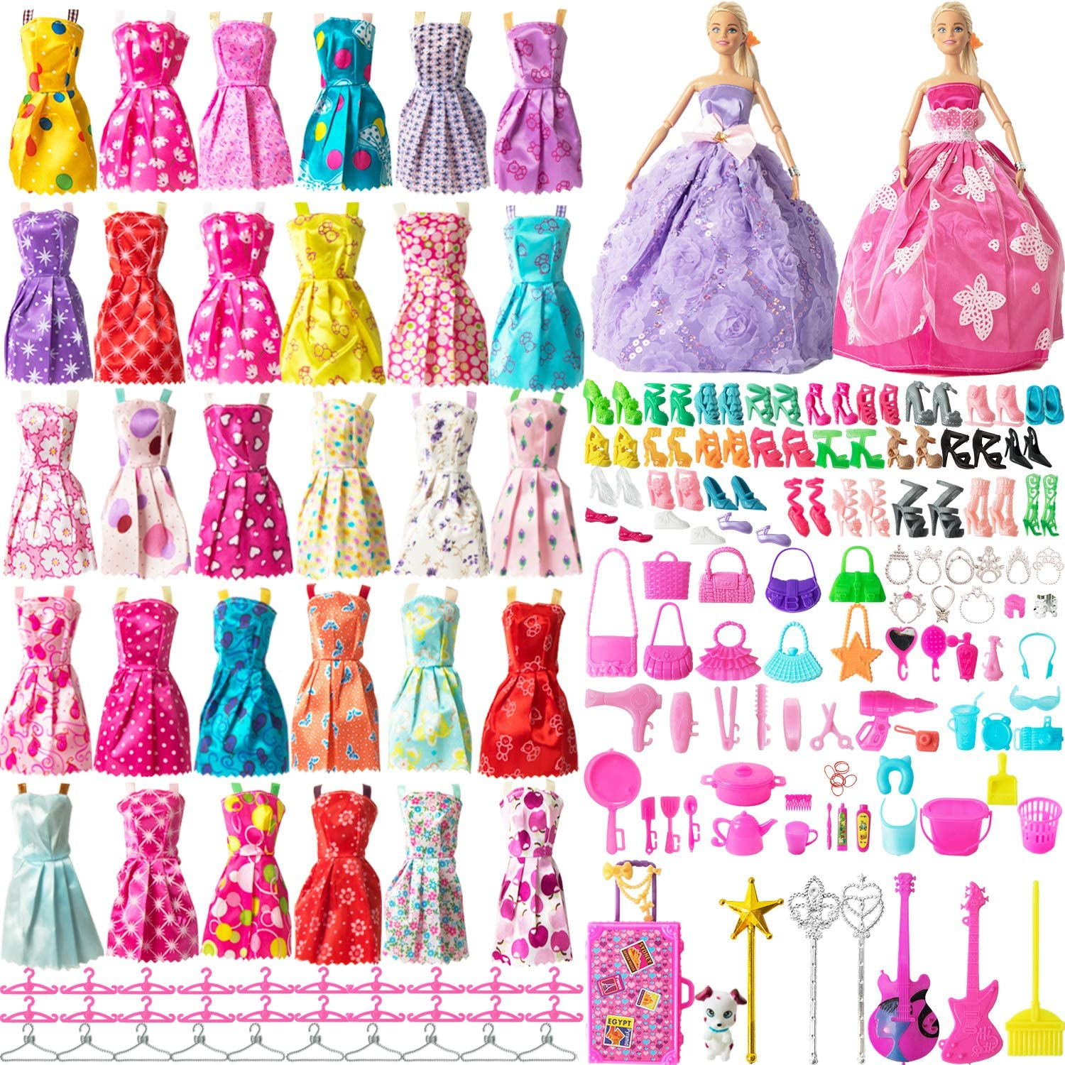 120 Pcs Doll Clothes Party Dress Shoes Bags Necklace Toy Accessory Set Xmas Gift