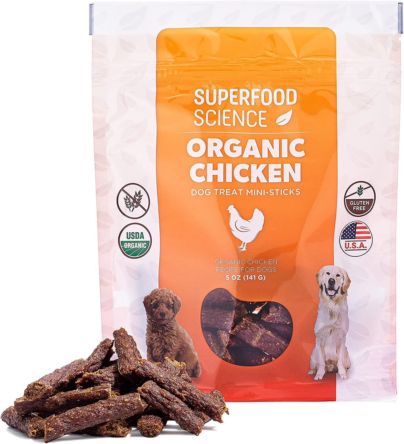 All Natural Organic Dog Treats, Chicken Dog Treats Made in USA Only, Human Grade Dog Treats with Joint and Hip Support, USDA Certified Organic, Grain Free, Non GMO, Gluten Free, 5 Oz Pouch