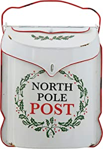 Creative Co-op Embossed Tin North Pole Post Box Container, Multicolor
