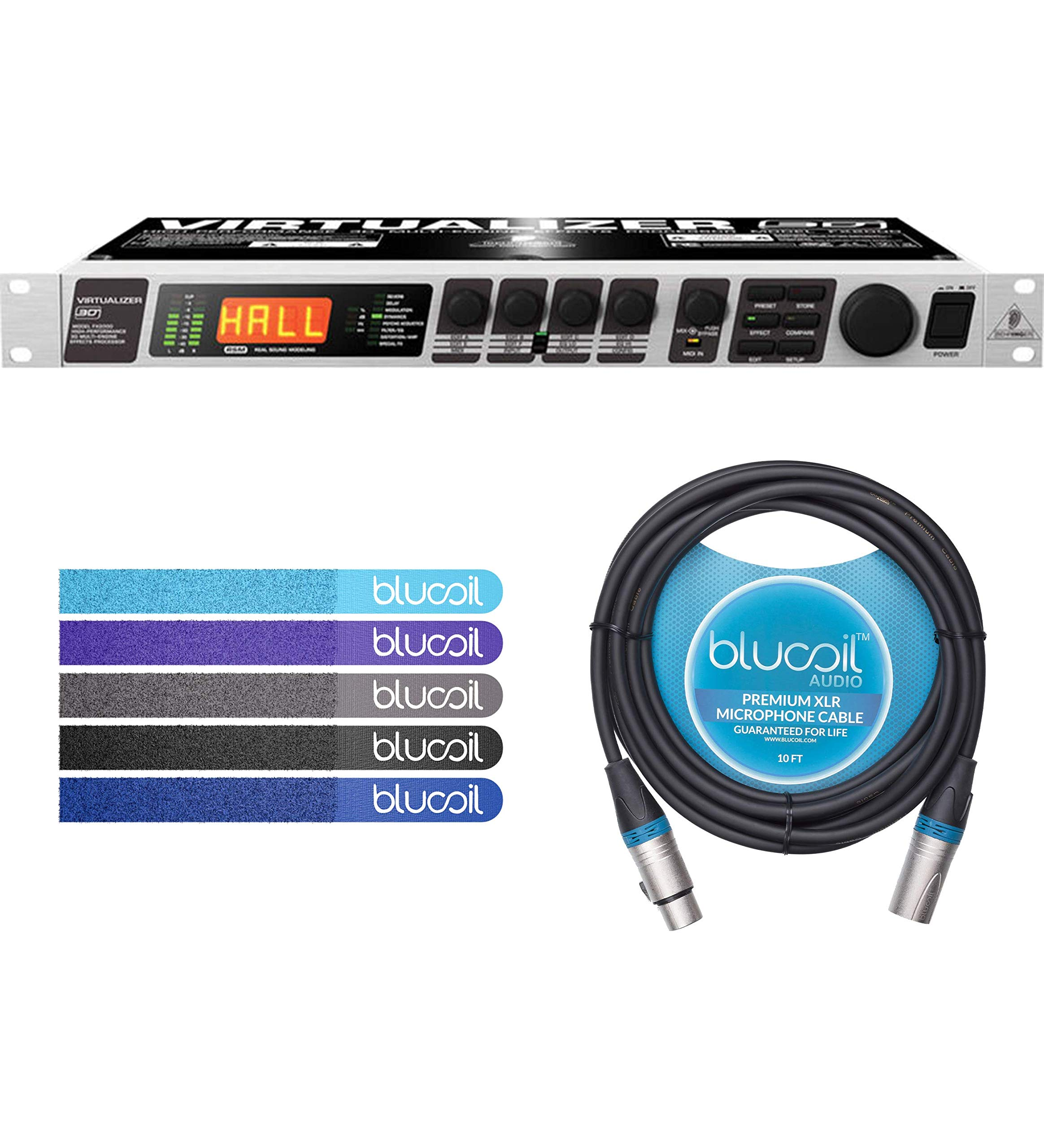 Behringer VIRTUALIZER 3D FX2000 Rackmount Multi-effects Processor Bundle with Blucoil Audio 10-Ft Balanced XLR Cable and 5-Pack of Reusable Cable Ties