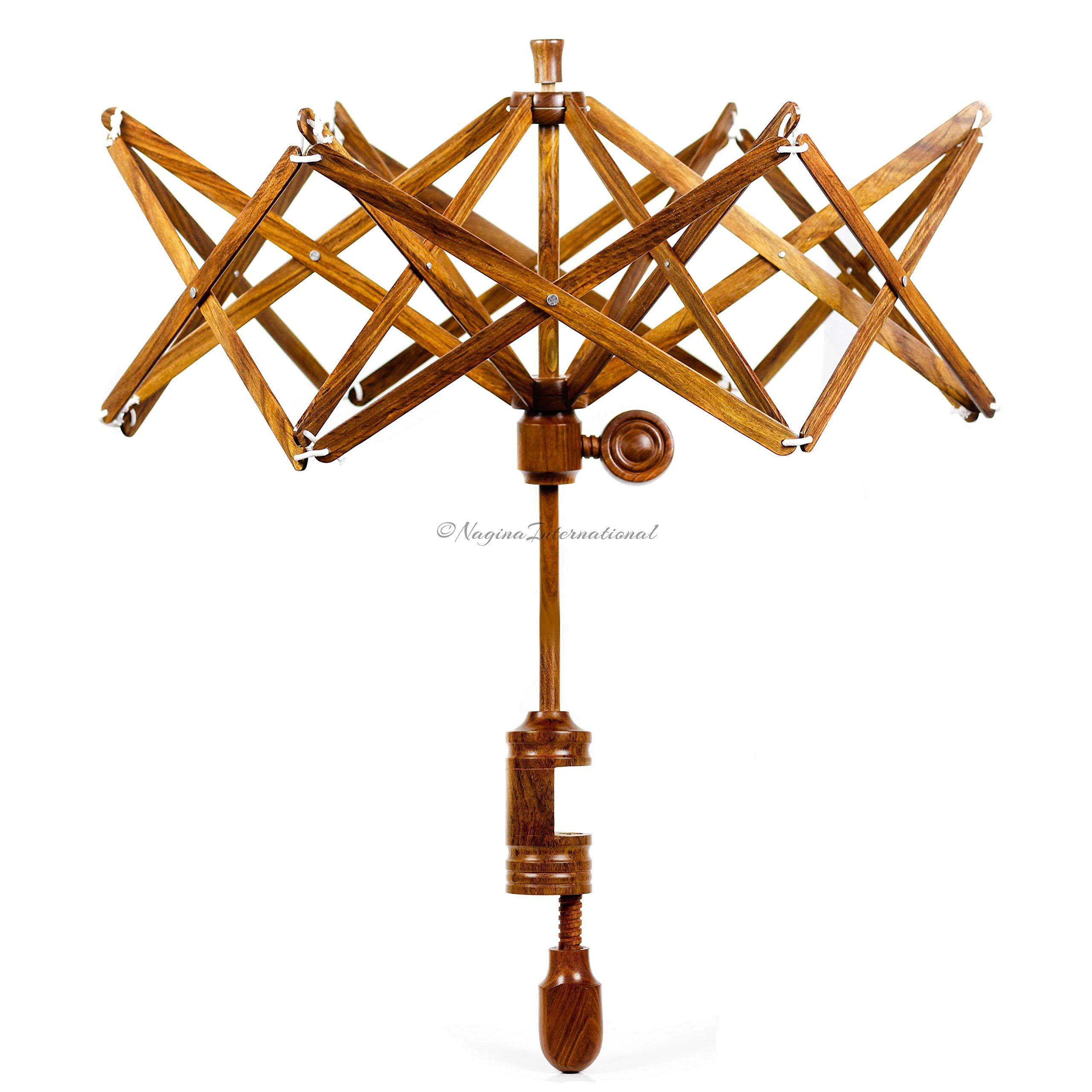 Nagina International's Yarn Swift Umbrella Table Top Yarn Winder | Hand Operated Ball Winder Holder | Knitting Tool for Swift Winding Lines, Laces Yarns & Fiber (Rosewood, X-Large)
