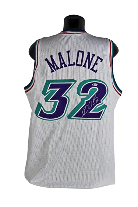 da6361c30 Autographed Karl Malone Jersey - White BAS Witnessed - Beckett  Authentication - Autographed NBA Jerseys
