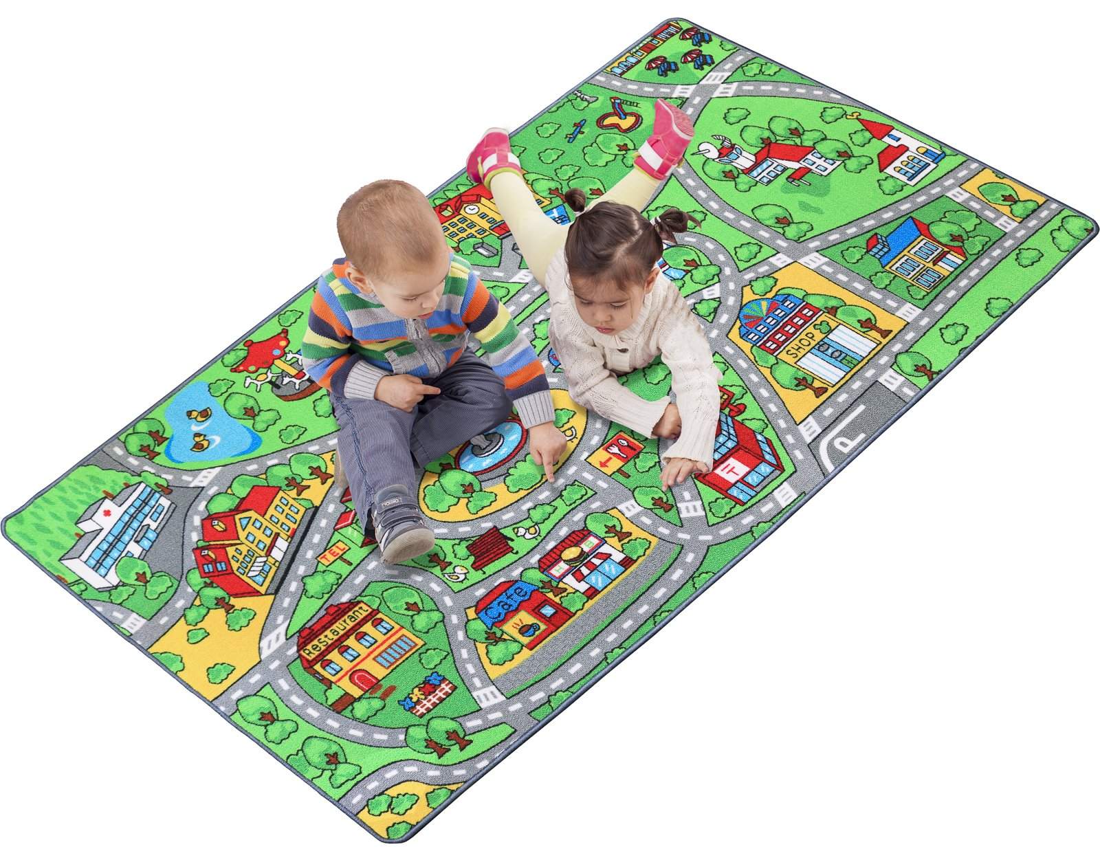 """Click N' Play Extra Large Non-Slip City Life Kids Playmat Rug, Fun, Educational, for Play area, Playroom, Bedroom-79"""" x 40"""""""