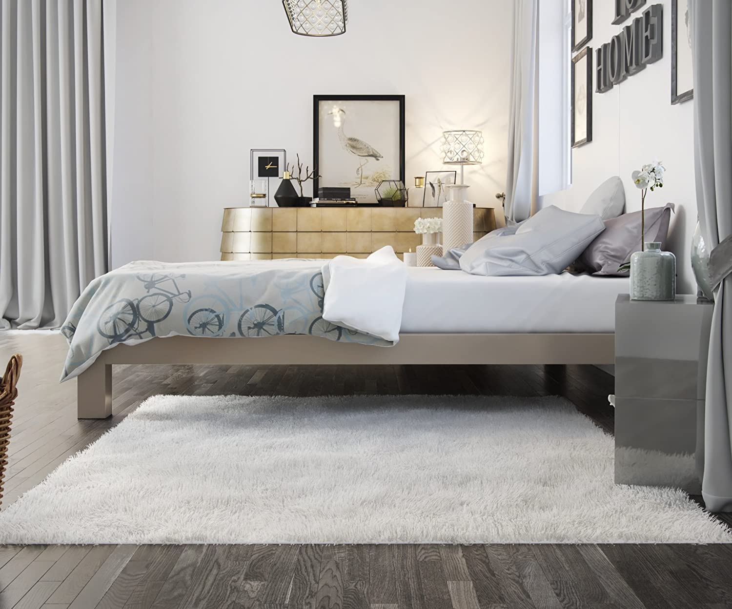 In Style Furnishings Stella Metal Platform Bed Frame – Modern, Finish – Thick and Wide Slats – Grey Champagne