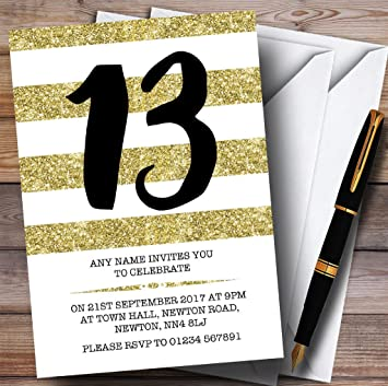 10 X Glitter Gold White Striped 13th Customized Birthday Party Invites