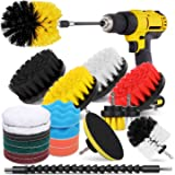 HIWARE 23 Pcs Drill Brush Attachment Set for Cleaning - Power Scrubber Brush Pad Sponge Kit with Extend Attachment for…