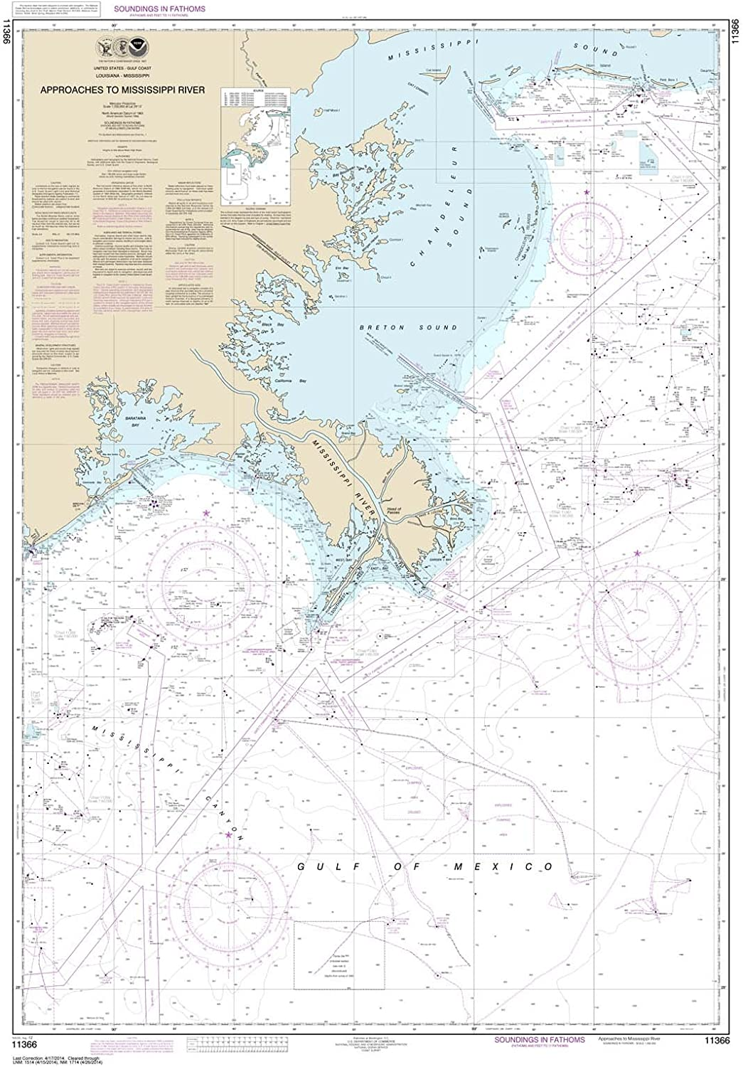 Paradise Cay Publications NOAA Chart 11366 Approaches to Mississippi River Traditional Paper 32.4 X 46.2