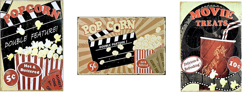 UNiQ Designs Popcorn Cinema Media Room Decor Tin Signs Theater Sign Movie Room Decor Accessories Film Decor Home Movie Theater Decor Movie Reel Wall Decor Vintage Movie Decor Pckgs 3 Pack 12x8