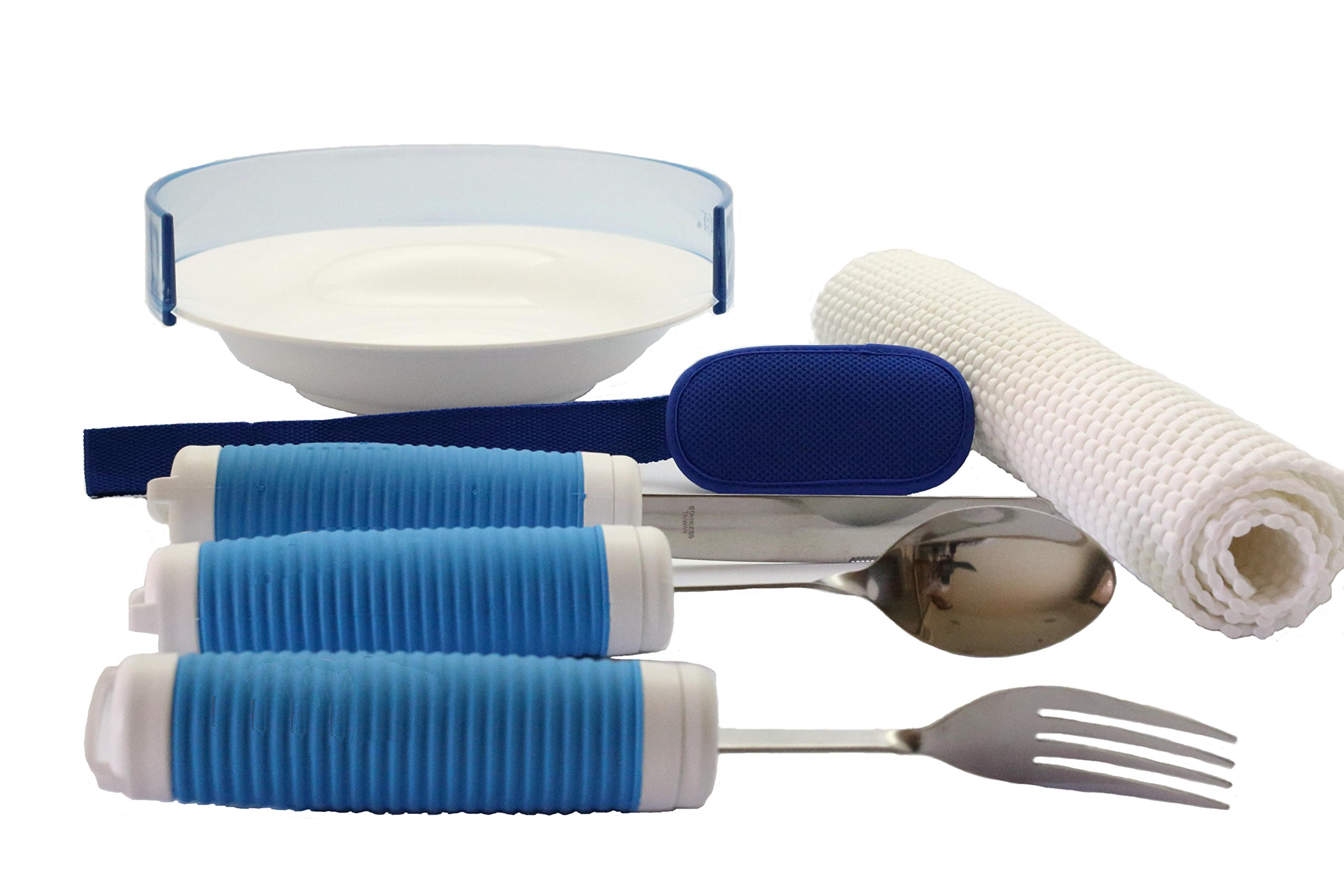 Daffo Green Adjustable Bendable Handle Eating Utensil Set Aid with Plate & Food Guard for Parkinson, Elderly, Disabilities
