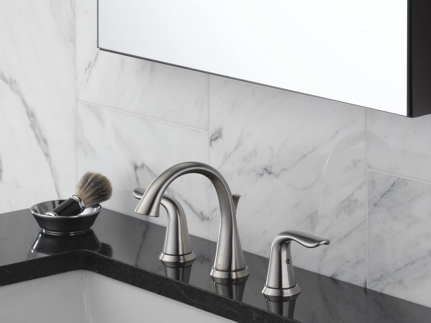 Delta 3538 SSMPU DST Lahara Two Handle Widespread Bathroom Faucet,  Stainless   Touch On Bathroom Sink Faucets   Amazon.com