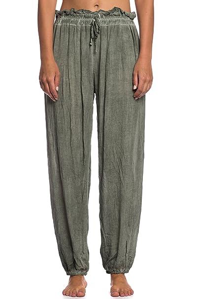 96f2bfafe642e Abbino 62632 Pantalone Ligero con Cinturón para Mujer - Hecho en ITALIA - 6  Colores -