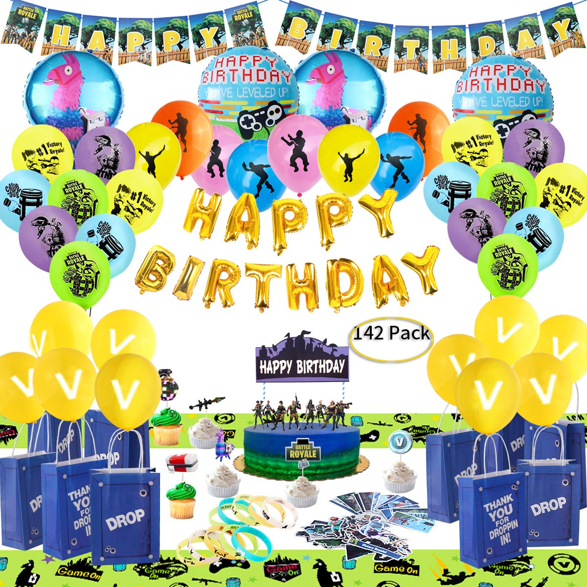 Birthday Party Supplies for Game Lovers, 142 pcs Gaming Theme Party Decorations - include Balloons, Party Favors Bags, Table Cover, Bracelets, Banner, Stickers, Cake Toppers by Sara&Leena