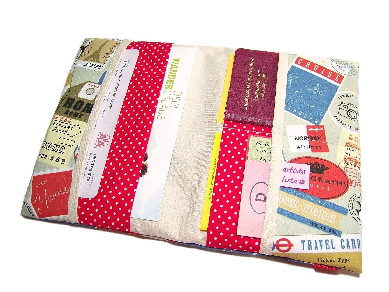 Reiseorganizer Reiseetui Dokumententasche Ausweistasche mit eReader-Fach Sightseeing rot-beige