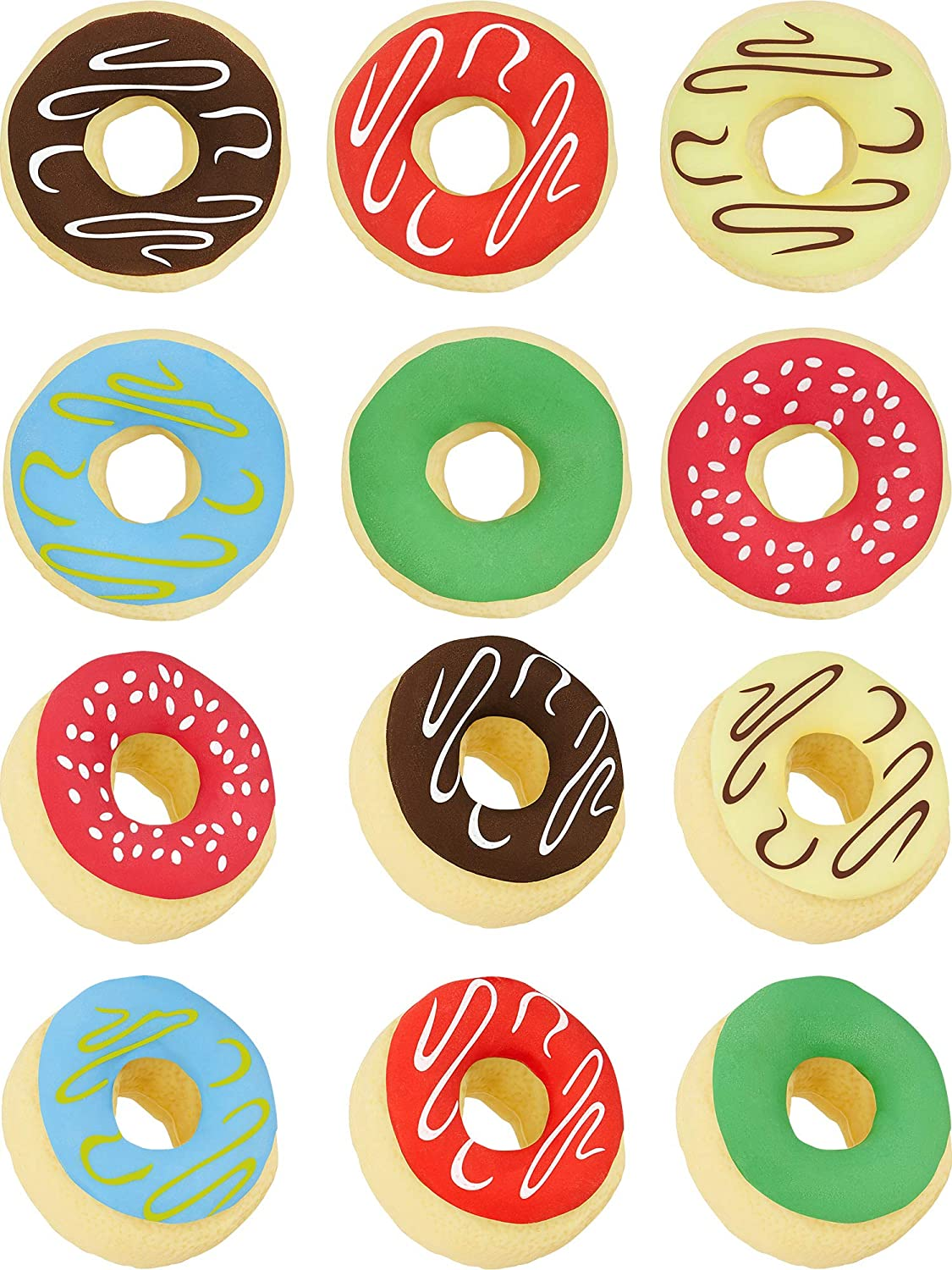 12 Pieces Donuts Erasers Food Erasers Donuts Pencil Erasers for Kids Reward Children School Supplies and Party Favors, Multi-designs