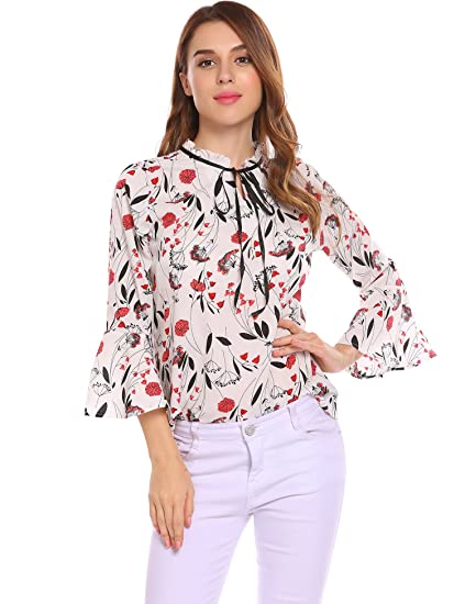 f454d6c4b3e Donkap Women s Floral Printed 3 4 Bell Sleeves Casual Chiffon Blouse Shirts  Tops at Amazon Women s Clothing store