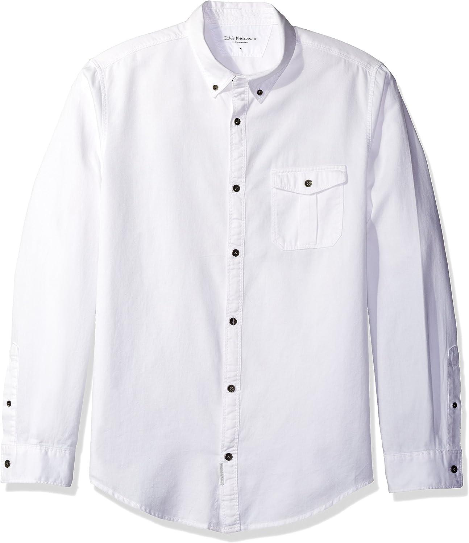 Calvin Klein Hombre 41AW144 Camisa con Botones - Blanco - XX-Large: Amazon.es: Ropa y accesorios