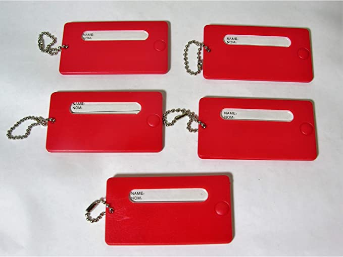 Markenlos 5 Feste Kofferanhänger Rot Mit Namensschild Kunststoff Gepäck Anhänger Garten