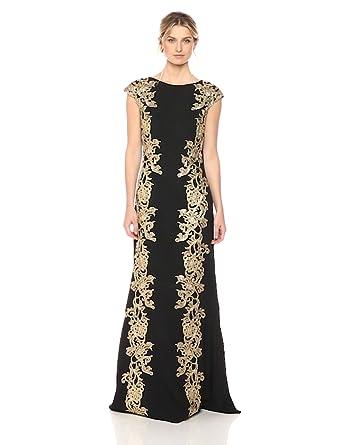d89e45ab71 Tadashi Shoji Women s Gold Lace Gown at Amazon Women s Clothing store