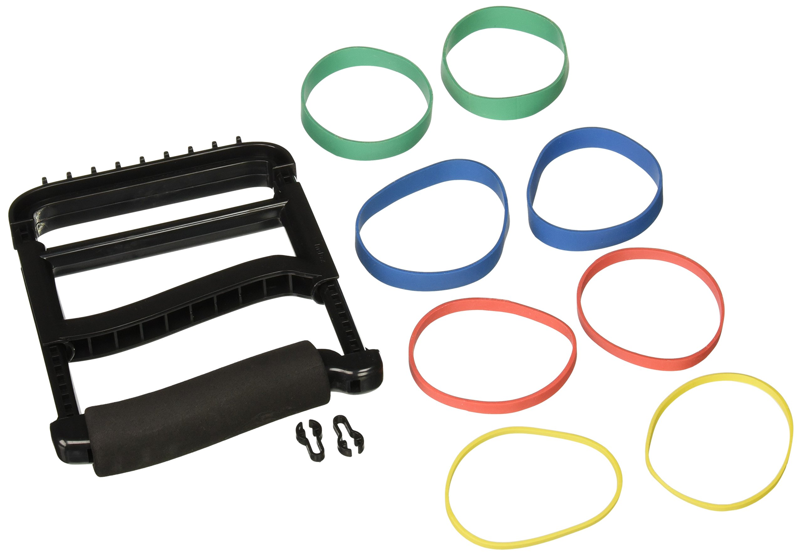 Rolyan Ergonomic Hand Exerciser with Padded Handle, Adjustable Squeeze Tool with 4 Pairs of Rubber Bands of Progressive Resistance for Finger, Hand, and Thumb Strengthening, Improving Weak Grip, Black