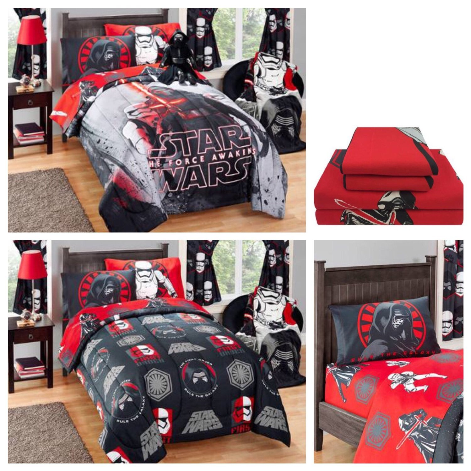 Disney Star Wars Kylo Ren Kids Reversible Comforter & Microfiber Sheets Bedding Set - Full by Disney