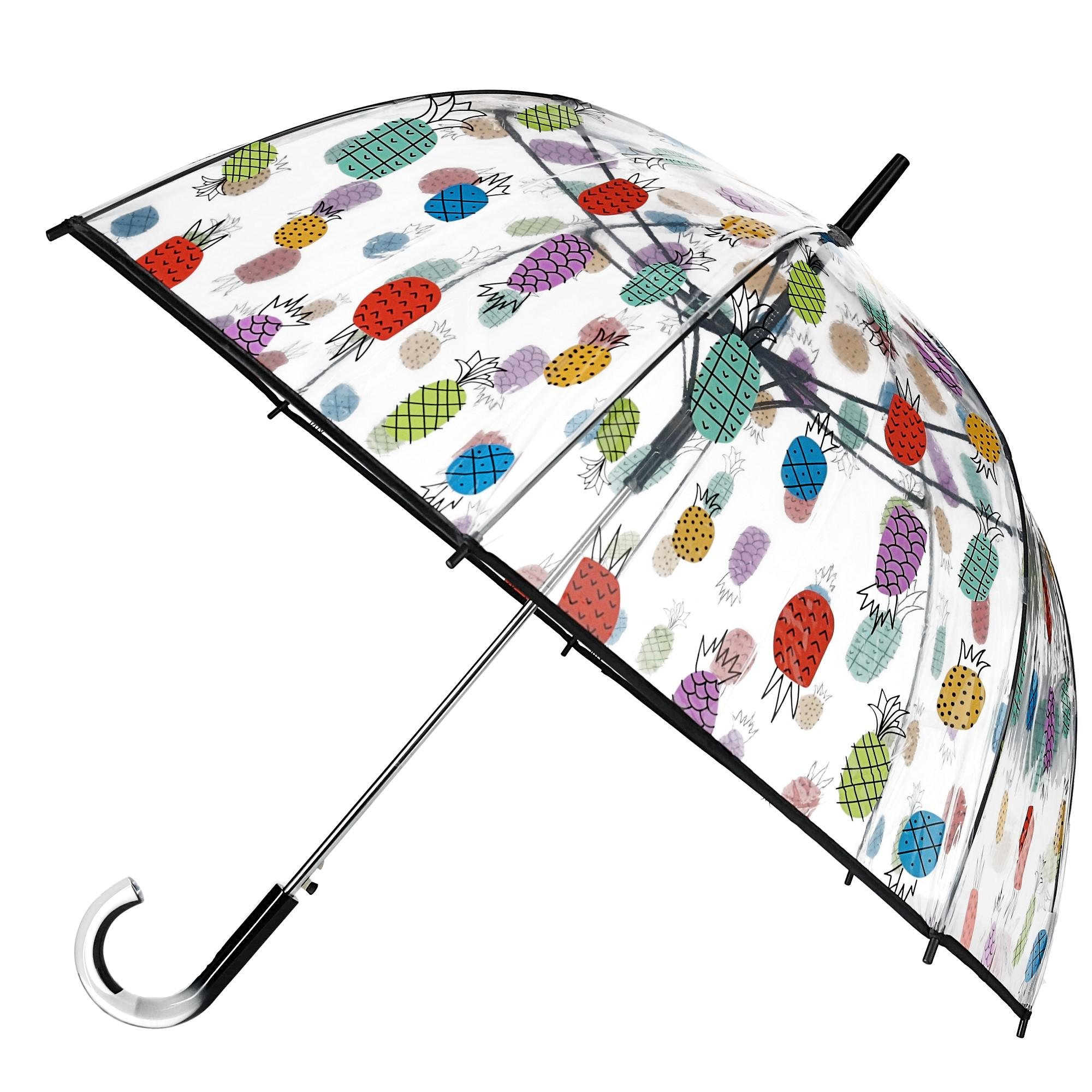ShedRain Women's Auto Open Pineapple Print Bubble Stick Umbrella, Clear