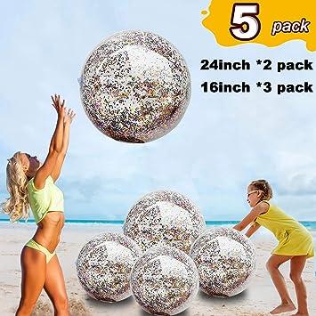 Paquete de 5 pelotas de playa hinchables de lentejuelas (61 cm - 2 ...