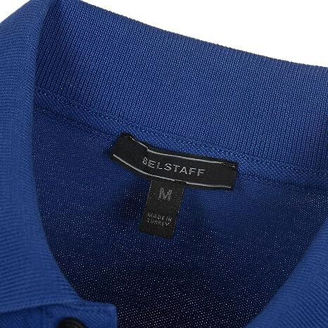 BELSTAFF /'STANNET/' POLO SHIRT CHEST PATCH DARK NAVY BLUE PIQUE COTTON