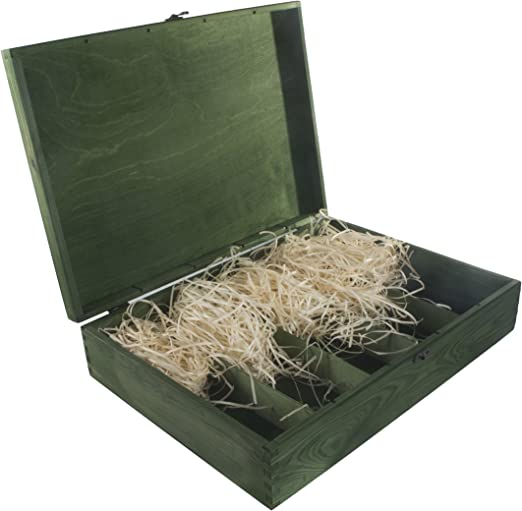 Caja de madera verde para 5 botellas de vino, bisagras y cierre de ...