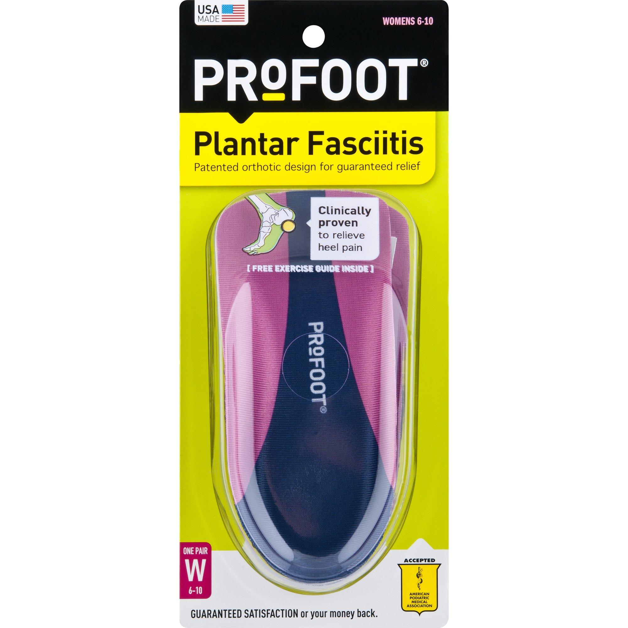 PROFOOT Heel Pain & Plantar Fasciitis Women's 6-10 1 Pair Insoles for Arch Support, Helps Releive Plantar Fasciitis Pain