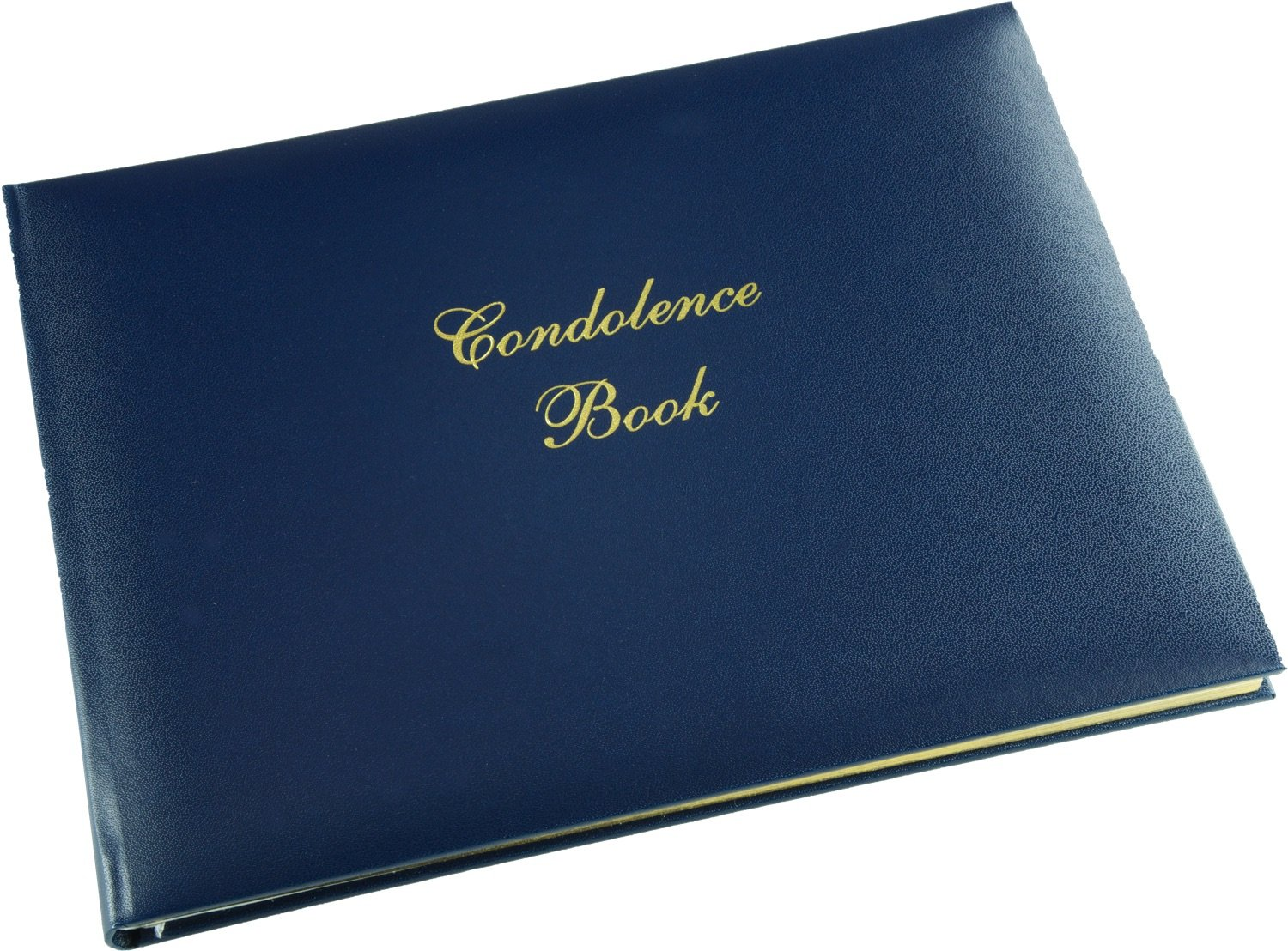 Esposti Condolence Book - Blue - Funeral Guest Book - Memorial Book - Presentation Boxed - (LARGE SIZE - Width 10.5 inch - Height 7.6 inch - Depth 0.6 inch)
