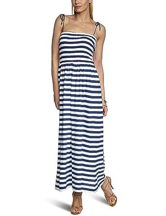 Kleid blau wei gestreift lang