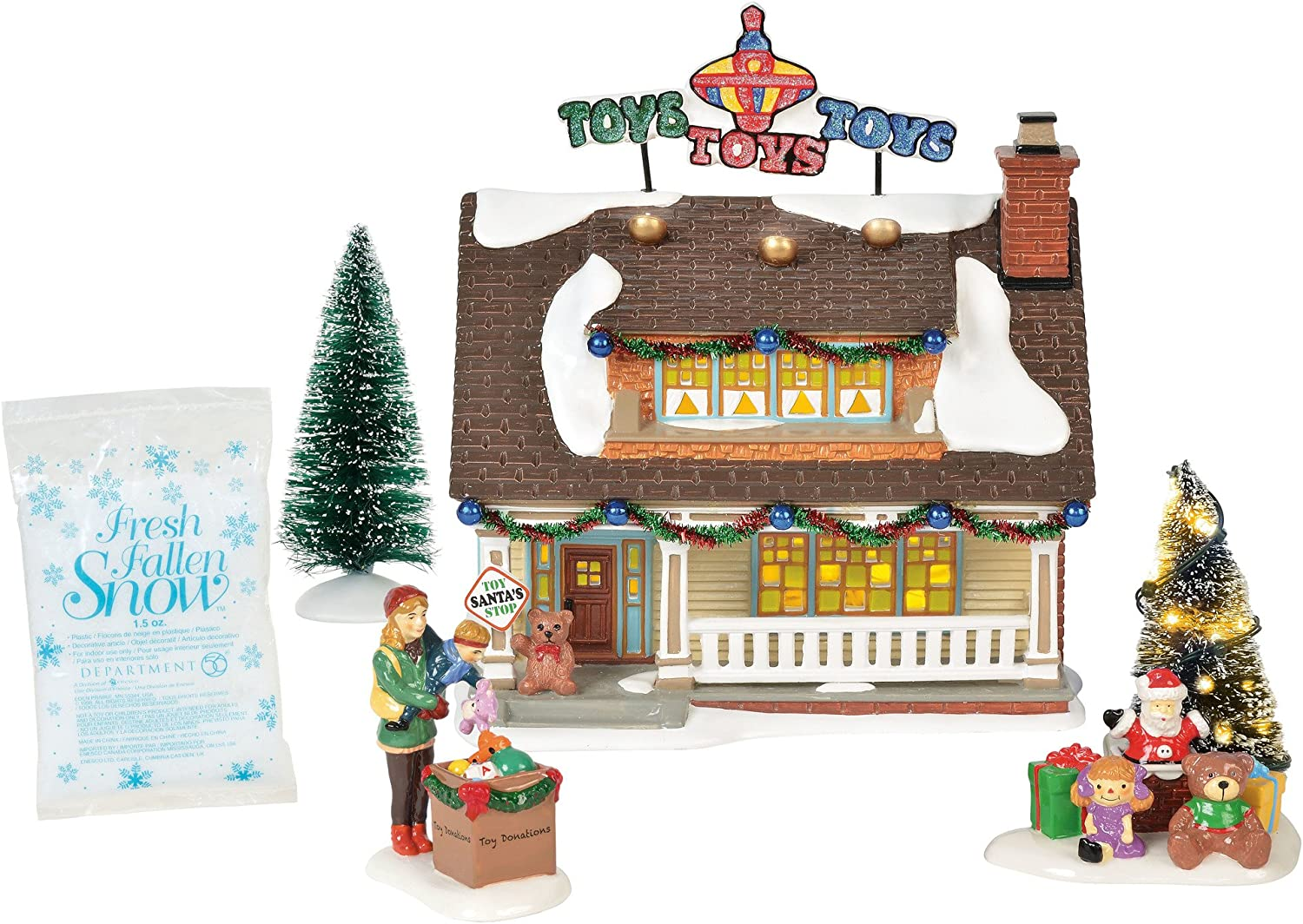 "Department56 Original Snow Village The Toy House Lit Building and Accessories, 7.09"", Multicolor"