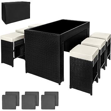 TecTake 800069 Ensemble de Bar avec 6 tabourets Salon de Jardin Poly rotin  Aluminium + Deux Set de Housses Inclus + Housse de Protection - diverses ...