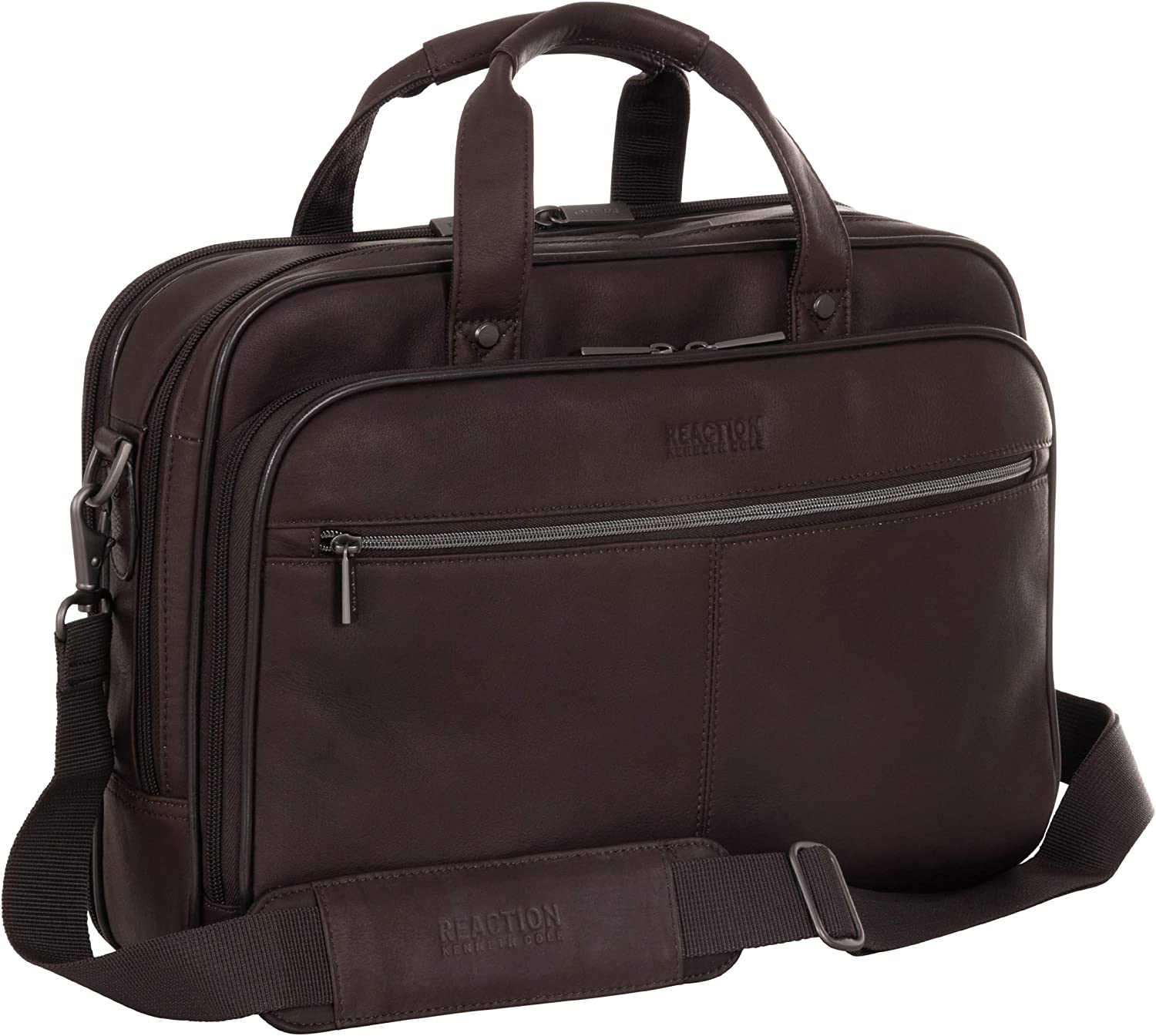 Kenneth Cole Reaction Resolute Men's Briefcase Full-Grain Colombian Leather 16
