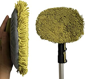 DocaPole 5-12 Foot Wall Duster Extension Pole | Chenille Microfiber Cleaning Head | For Use by Hand or with an Telescopic Pole | High Reach Duster for Walls and High Ceilings | Washable Cleaning Cloth