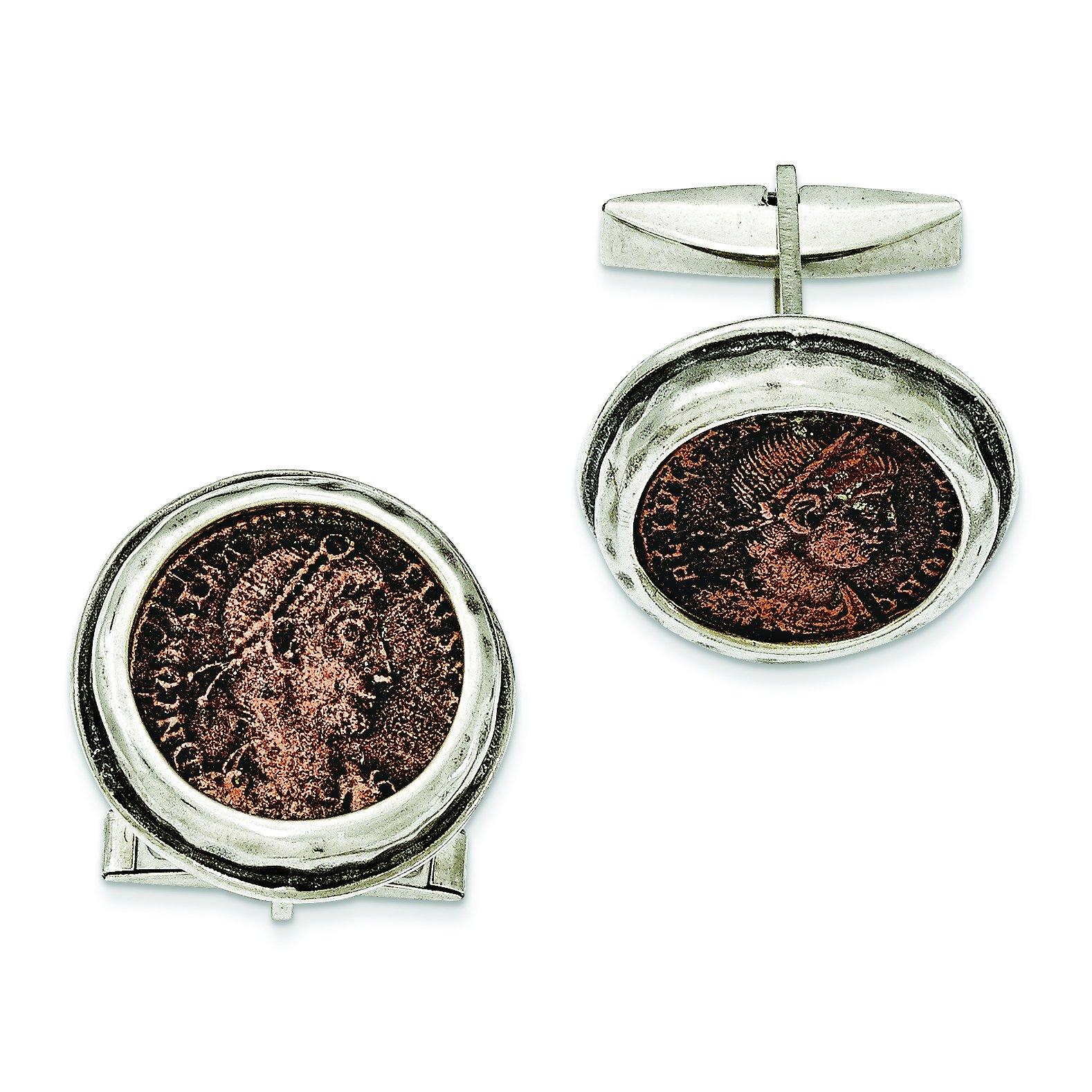 ICE CARATS 925 Sterling Silver Roman Bronze Coin Cufflinks Cuff Link Fine Jewelry Gift Set For Women Heart