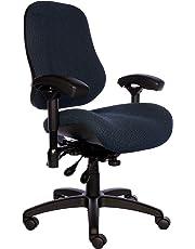 """BodyBilt J2504x Blue Fabric XL High Back Task Ergonomic Chair with Arms, 22"""" Length x 21.50"""" Width Backrest, 26"""" Width Seat, Grade 3 Comfortek"""