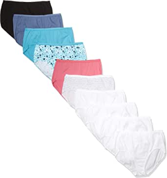 Just My Size Women's Plus Size Cool Comfort Cotton Brief 10-Pack