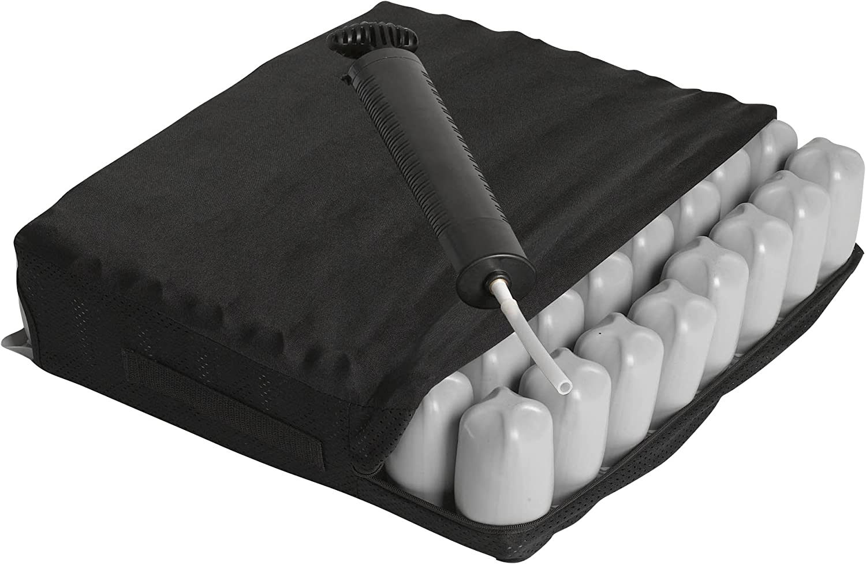 "Drive Medical Balanced Aire Adjustable Cushion, 22 x 18 x 4"", Black"