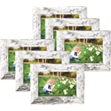 4x6 Picture Frames Rustic White Wood Pattern Display for Tabletop or Wall Decor High Definition Real Glass Photo Frame…