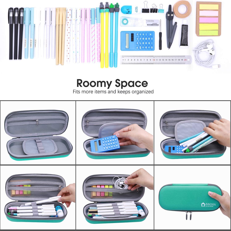 Aiscool Trousse rigide pour stylos et crayons Grande capacit/é 9.1 x 2.2 x 3.8 in gris