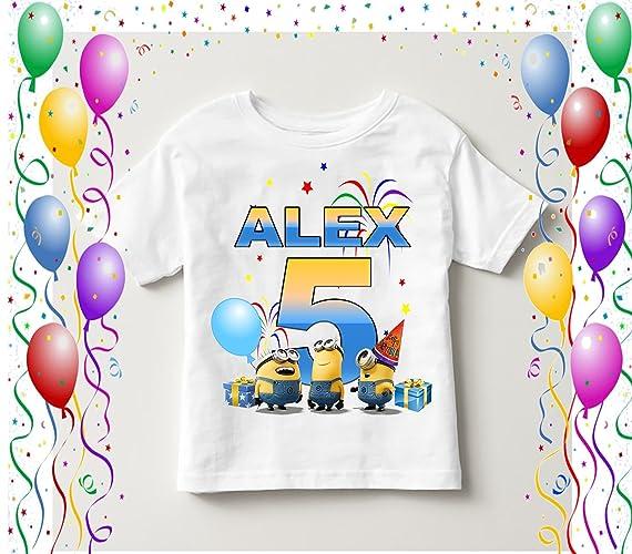 94075dc33 Amazon.com: Birthday Minions party shirt, Family birthday gift, Custom name  boy, Minions name age, Minion custom tee, Minion personalized, Clothing 74:  ...