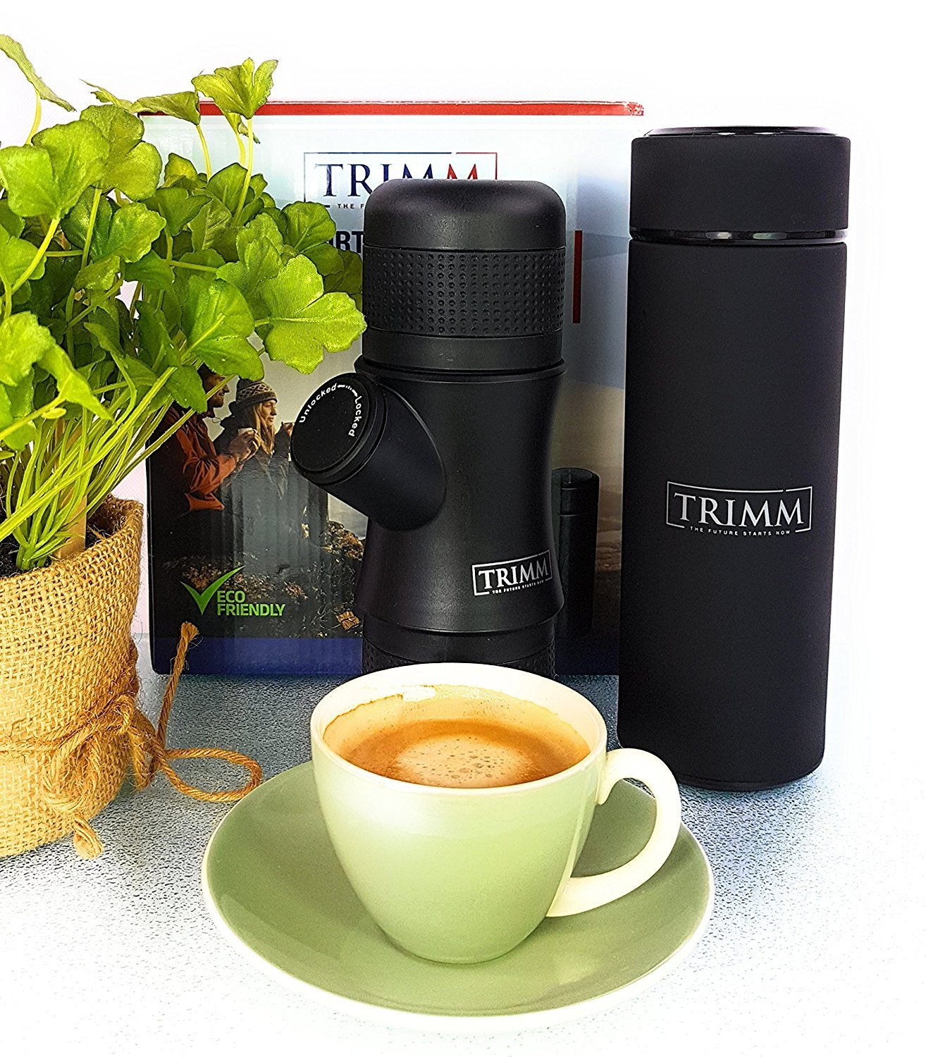 Trimm Portable Hand Held Espresso Machine and Thermos Vacuum Insulated Double Wall | Portable Espresso Maker and Flask | Single Cup Coffee Maker and Tea Thermos Bottle | Travel Set Great Gift Idea by TRIMM THE FUTURE STARTS NOW (Image #8)