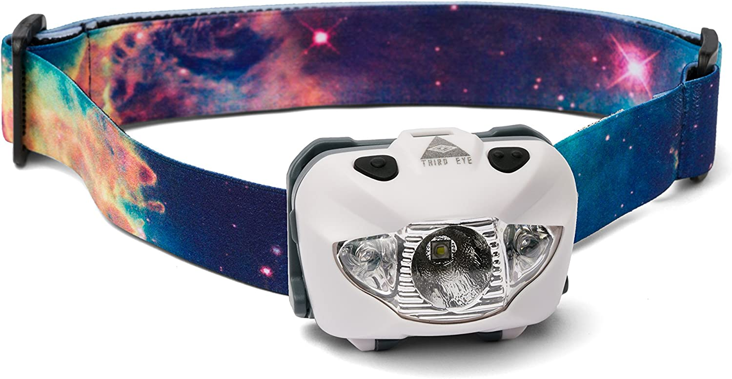 Third Eye Headlamps – Powerful LED Headlamp Flashlight – Style Meets Performance – 168 Lumens – Multiple Brightness Settings – Red and White Light – Adjustable Angle Tilt
